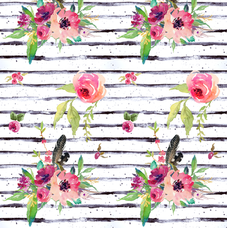 Lose Yourself Floral Stripes fabric by shopcabin on Spoonflower - custom fabric