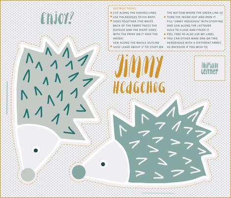 jimmy hedgehog green tones fabric by miriam_leitner on Spoonflower - custom fabric