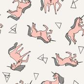 unicorn // pink pastel champagne girls cute design for little girls unicorn fabric unicorn design unicorns fabric