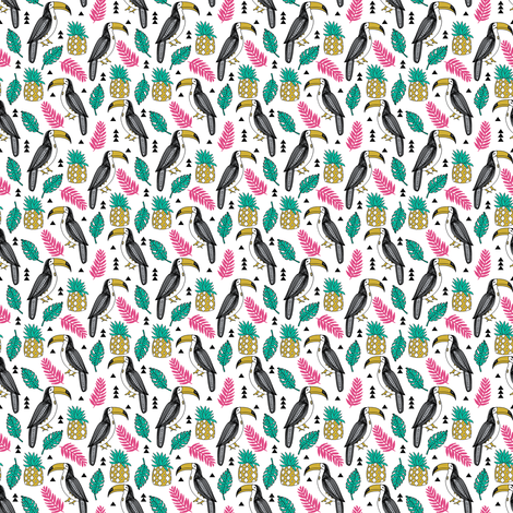 toucan // toucans pineapple tropical leaves tropical summer palms palm print toucan fabric by andrea lauren fabric by andrea_lauren on Spoonflower - custom fabric
