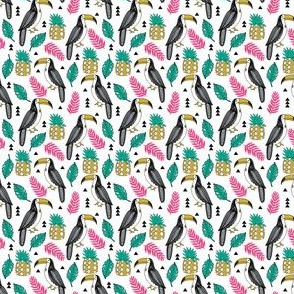 toucan // toucans pineapple tropical leaves tropical summer palms palm print toucan fabric by andrea lauren