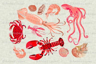 crustaceans tea towel // tea towels cut and sew tea towel ocean fabric squid lobsters crabs kitchen print kitchen fabric tea towel design andrea lauren andrea lauren fabric