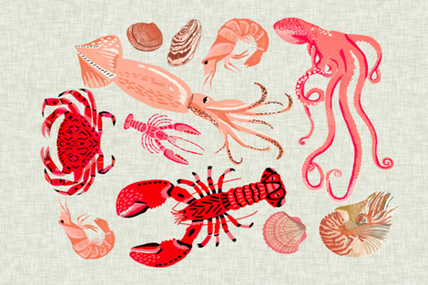 crustaceans tea towel // tea towels cut and sew tea towel ocean ...