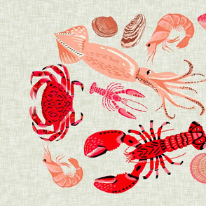 crustaceans tea towel // tea towels cut and sew tea towel ocean fabric squid lobsters crabs kitchen print kitchen fabric tea towel design andrea lauren andrea lauren fabric
