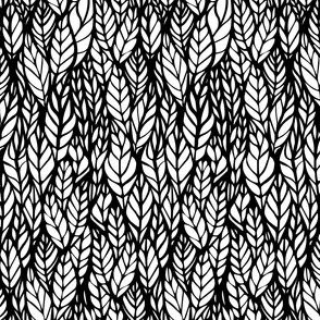 Color It In - Black and White Little Leaves