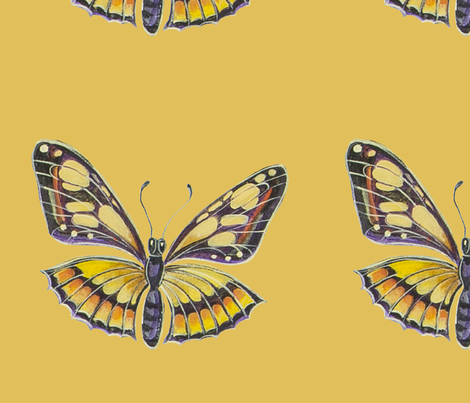 Yellow_and_Brown_butterfly_ fabric by jenoiserie on Spoonflower - custom fabric