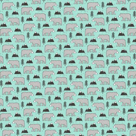 Mountain Bear  Woodland  on Mint Green Tiny Small fabric by caja_design on Spoonflower - custom fabric