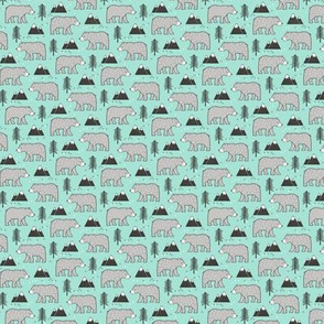 Mountain Bear  Woodland  on Mint Green Tiny Small