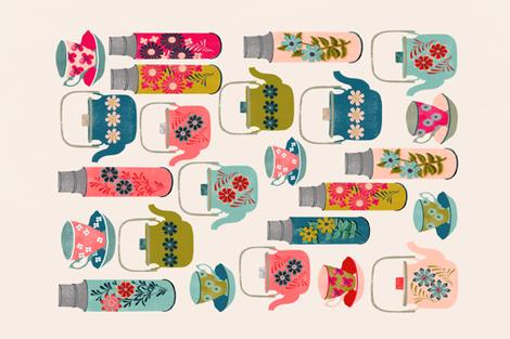 thermos tea towel // vintage style teacups teapots tea thermos florals tea towel cut and sew kitchen fabric by andrea lauren fabric by andrea_lauren on Spoonflower - custom fabric