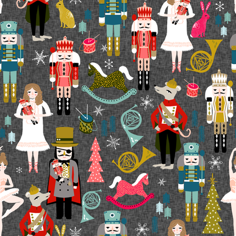 nutcrackers // nutcracker ballet xmas holiday christmas fabric christmas design by andrea lauren fabric by andrea_lauren on Spoonflower - custom fabric
