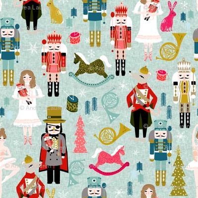 nutcracker // (large) xmas holiday christmas nutcracker ballet christmas tree fabric by andrea lauren