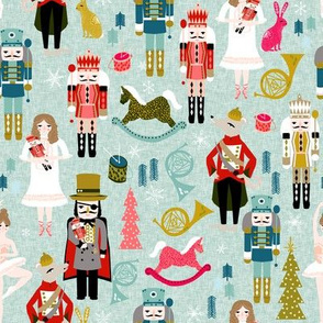 nutcracker // (large) xmas holiday christmas nutcracker ballet christmas tree fabric by andrea lauren