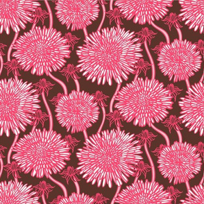 BIg bold hand drawn pink flowers