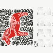 2018 linocut calendar // dala horse calendar, folk calendar, andrea lauren fabric