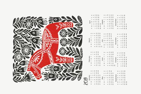 2019 linocut calendar // dala horse calendar, folk calendar, andrea lauren fabric fabric by andrea_lauren on Spoonflower - custom fabric