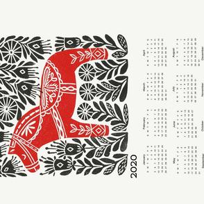 2020 linocut calendar // dala horse calendar, folk calendar, andrea lauren fabric