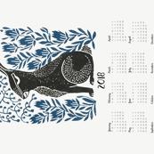 2018  hare calendar // linocut hare calendar andrea lauren fabric andrea lauren calendar linocuts