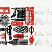 2018 London Calendar // tea towel calendar, cut and sew, cut and sew calendar, tea towel, red and black kitchen calendar, uk british, london, city, travel
