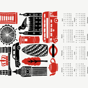 2019 London Calendar // tea towel calendar, cut and sew, cut and sew calendar, tea towel, red and black kitchen calendar, uk british, london, city, travel