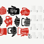 2018 Tea Calendar // tea towel calendar, kitchen calendar, spoonflower cut and sew calendar, tea towel, tea, linocut, kitchen