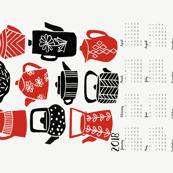 2018 Tea Calendar // tea towel calendar, kitchen calendar, spoonflower cut and sew calendar, tea towel, tea, linocut, kitchen