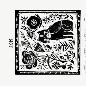 2019 Cat Calendar //cat calendar linocut design andrea lauren cut and sew tea towel fabric tea towel design spoonflower andrea lauren