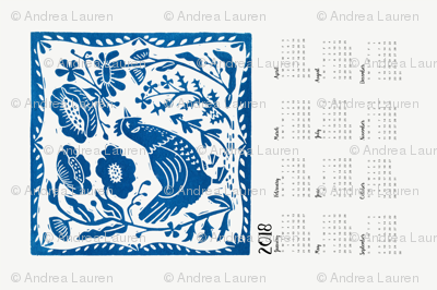2018 Chicken Calendar // chicken calendar linocut chicken cute cut and sew calendars linocut design