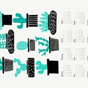 2018 cactus tea towel // tea towel calendar cactus houseplants potted plants tea towel cut and sew tea towel fabric