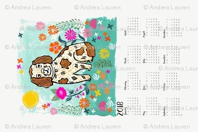 2018 dog calendar // dog calendar linocut design illustration andrea lauren dog calendar
