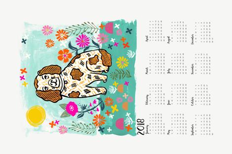 2018 dog calendar // dog calendar linocut design illustration andrea lauren dog calendar fabric by andrea_lauren on Spoonflower - custom fabric