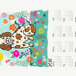 2018 dog calendar // dog calendar linocut design illustration andrea lauren dog calendar