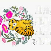 2018 cat calendar // linocut cat calendar flowers cut and sew andrea lauren tea towel fabric calendar andrea lauren design