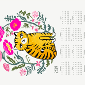 2019 cat calendar // linocut cat calendar flowers cut and sew andrea lauren tea towel fabric calendar andrea lauren design