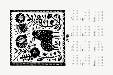 2018 sheep calendar // calendar cut and sew tea towel cut and sew linocut calendar sheep knitting cute animals fabric by andrea_lauren on Spoonflower - custom fabric