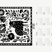 2018 sheep calendar // calendar cut and sew tea towel cut and sew linocut calendar sheep knitting cute animals