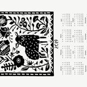 2019 sheep calendar // calendar cut and sew tea towel cut and sew linocut calendar sheep knitting cute animals