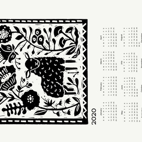 2020 sheep calendar // calendar cut and sew tea towel cut and sew linocut calendar sheep knitting cute animals