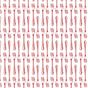red fork on white