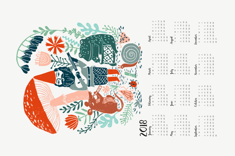 2018 gnome calendar // gnome calendar illustration gnome illustration calendar mushrooms woodland forest calendar linocut andrea lauren fabric by andrea_lauren on Spoonflower - custom fabric