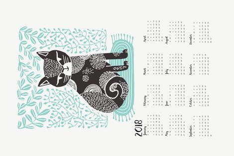 2018 cat linocut calendar // calendar cut and sew calendar linocut cat cat design andrea lauren fabric andrea lauren tea towel fabric by andrea_lauren on Spoonflower - custom fabric