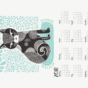2018 cat linocut calendar // calendar cut and sew calendar linocut cat cat design andrea lauren fabric andrea lauren tea towel