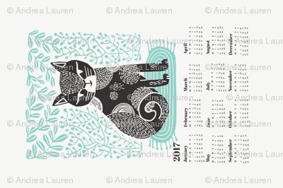 2017 cat linocut calendar // calendar cut and sew calendar linocut cat cat design andrea lauren fabric andrea lauren tea towel