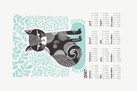 2017 cat linocut calendar // calendar cut and sew calendar linocut cat cat design andrea lauren fabric andrea lauren tea towel fabric by andrea_lauren on Spoonflower - custom fabric