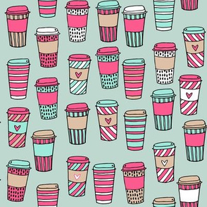 coffee // latte cafe coffee fabric mint and pink cute hand-drawn coffee drinks fabric