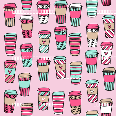 coffee // coffee cafe latte to go fabric pink and mint coffee fabric