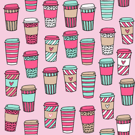 coffee // coffee cafe latte to go fabric pink and mint coffee fabric fabric by andrea_lauren on Spoonflower - custom fabric