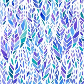 Watercolor Leaves - Jewel Tone