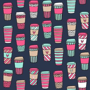 coffee // pink mint and navy coffee cafe latte coffee fabric