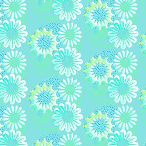 Aqua Blooms Lino