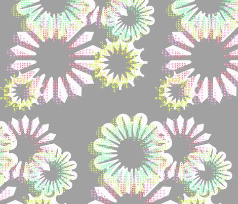 Aqua Blooms Grey fabric by abbieuproot on Spoonflower - custom fabric